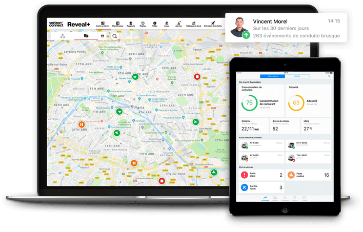 Interface du systeme de geolocalisation Verizon Connect