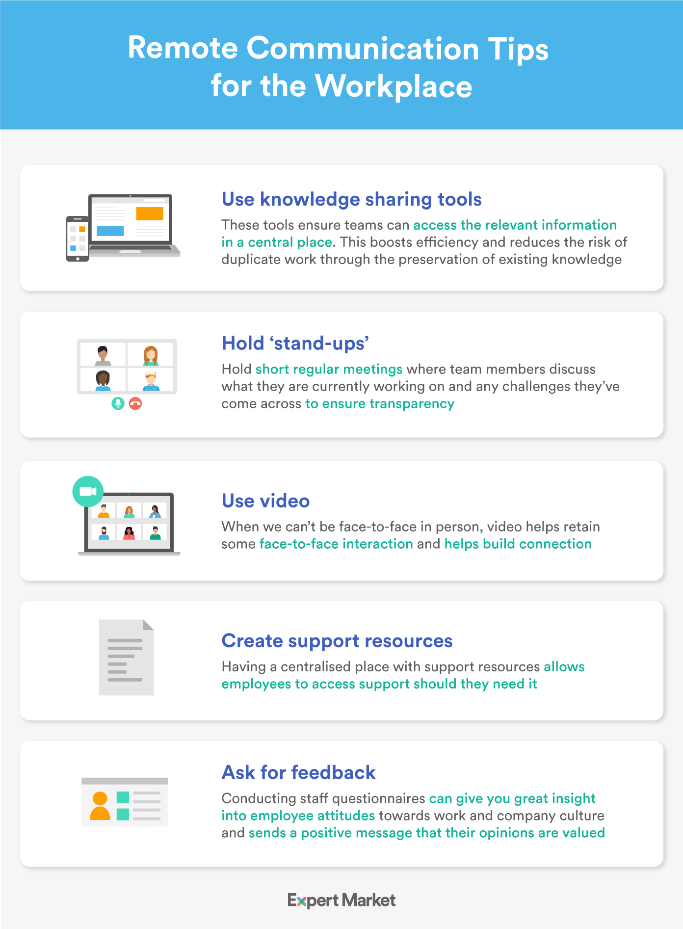 Infographic showing our tips for remote communication