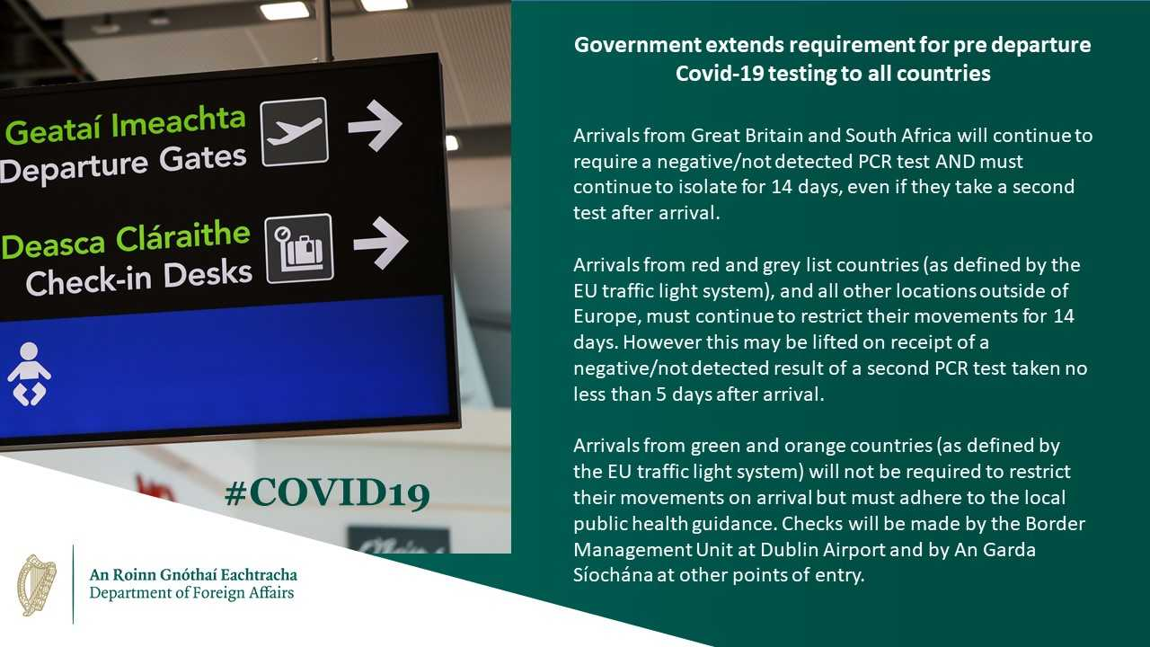 Travel conditions and restrictions in Ireland, source Department of Foreign Affairs