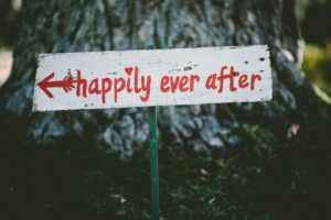 """Sign that says """"happily ever after"""""""