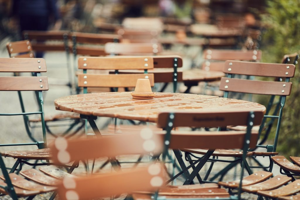 Set of outdoor tables and chairs in a beer garden