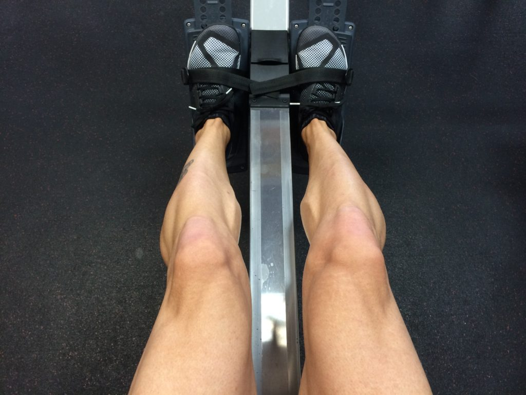 Feed on rowing machine