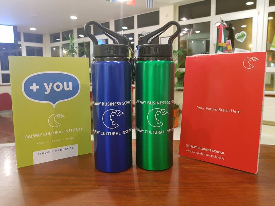 Reusable water bottles available at reception