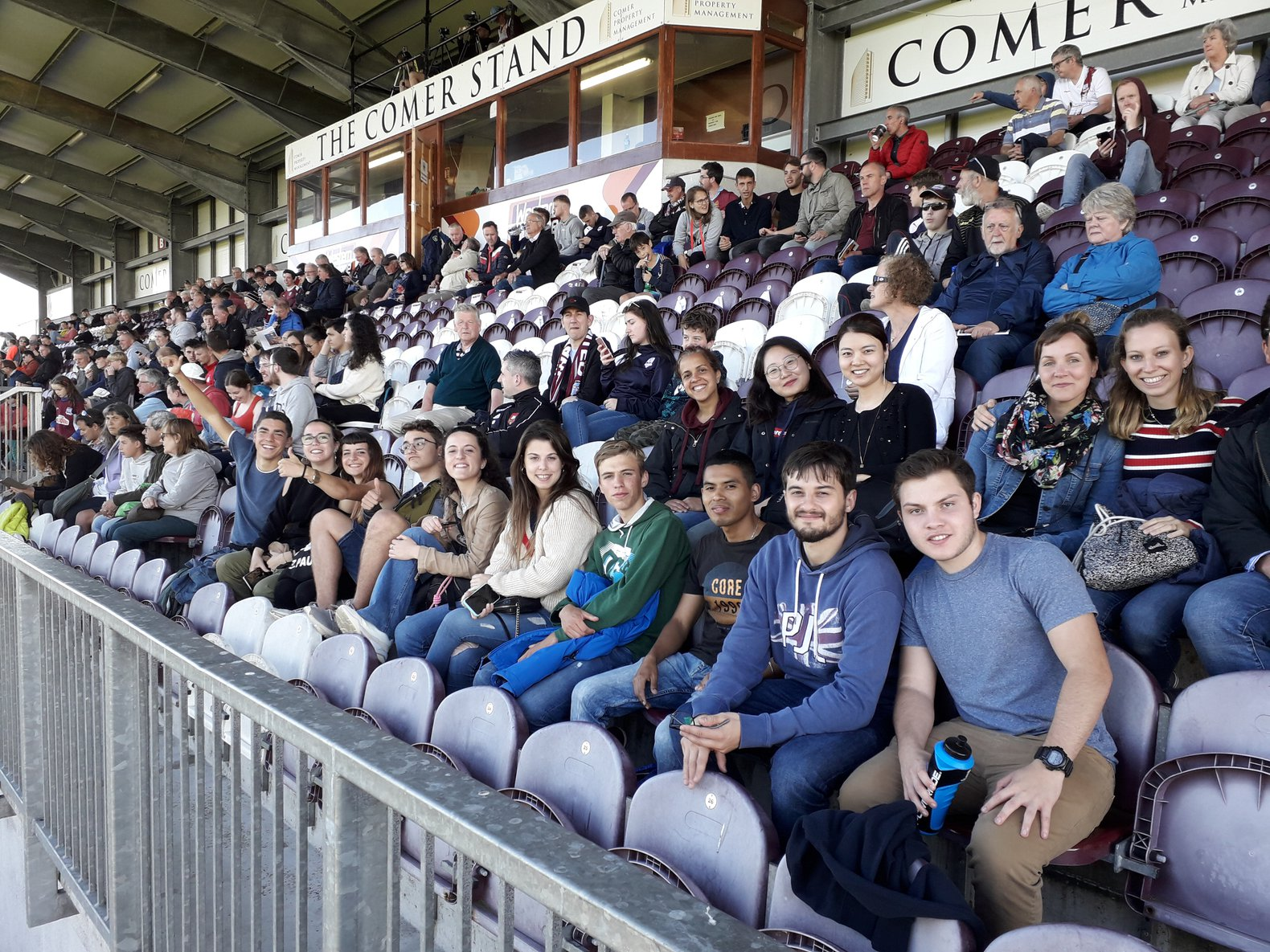 Alessandra with friends from GCI at a Galway United football game