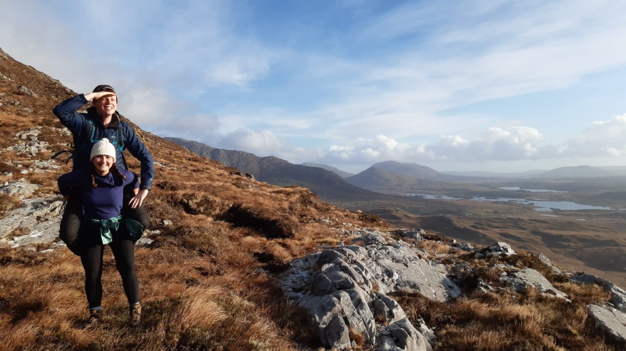 Cristina and her husband Piaras in her favourite place in County Galway, climbing the Twelve Bens in Connemara