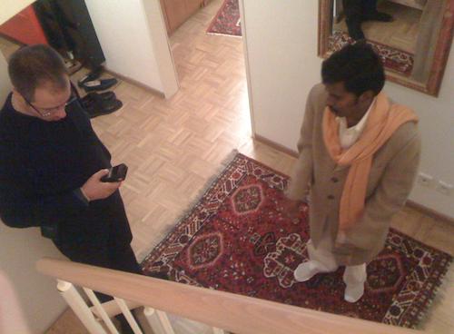 Šrí Káléšvara a Tobias během jedné z Vástu-konzultací v Německu