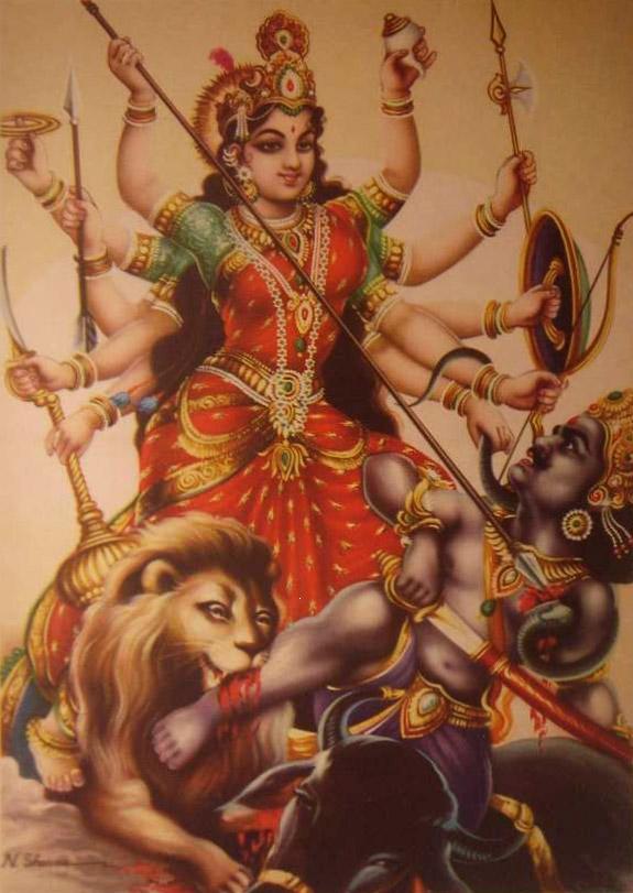 Mahishasura Mardini besiegt den Dämon Mahishasura