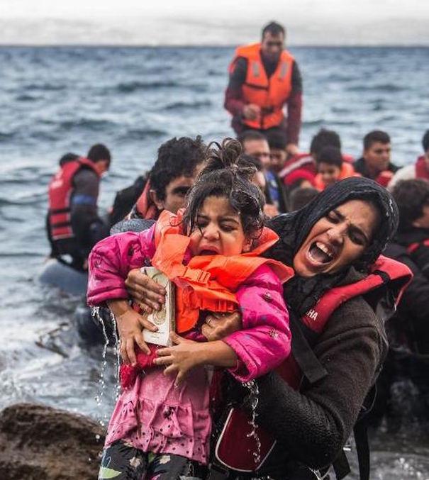 Flüchtlinge erreichen Lesbos, Griechenland