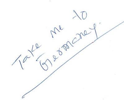 Bring mich nach Deutschland. - Eine handschriftliche Notiz Sri Kaleshwars an Tatyanna kurz vor seinem Mahasamadhi, 2012
