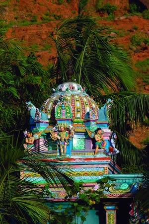 ペヌコンダ村のハヌマン寺院をアシュラムから見た眺め
