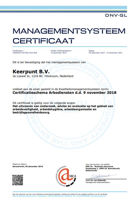 Certificaat arbodienstverlening