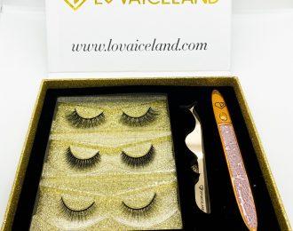 3 styles eyelash set with diamond magnetic eyeliner and tweezers.