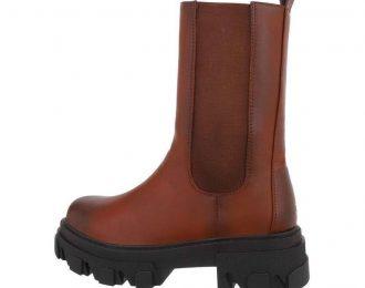 Skór koníaksbrún boots F13-38