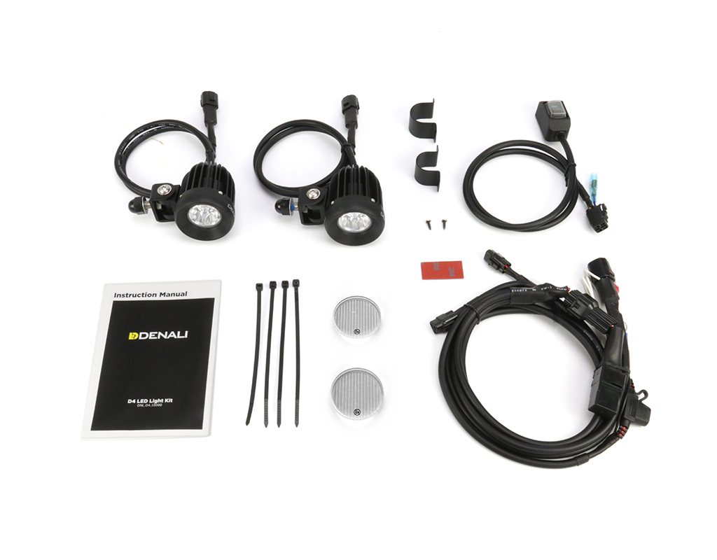 Denali 20 D2 Trioptic Led Light Kit With Datadim Technology Dendnl Kawasaki Z650 Wiring Harness 2x E Mark Approved Elliptical Flood Lenses Included 1x Hotswap Single Intensity Dryseal Waterproof Illuminated Switch