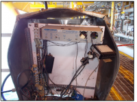 Overcharged battery in non ventilated box lead to explosion of remote terminal unit panel