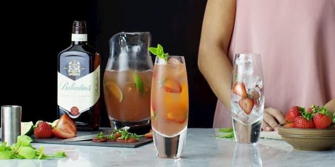 Ballantine's Summer Scotch Whisky Cocktail Strawberry Fix