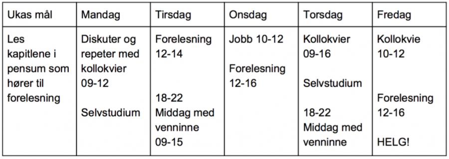 Bilde av timeplan