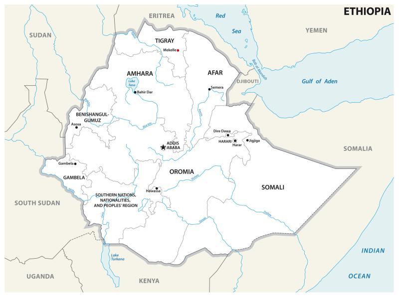 politisk kart etiopa