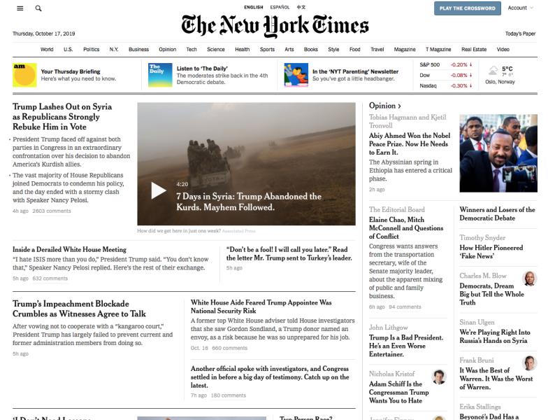 Screenshott av artikkel i New York Times