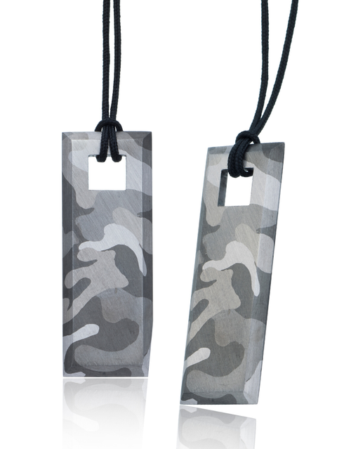 Silver Camouflage necklace Tags with the camouflage patterns hand painted in silvery grey shades of rhodium