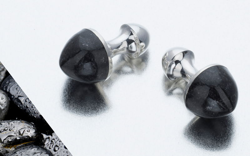 Bullet-shaped cufflinks in highly polished black granite & sterling silver from biiju - luxury fine jewellery for MEN