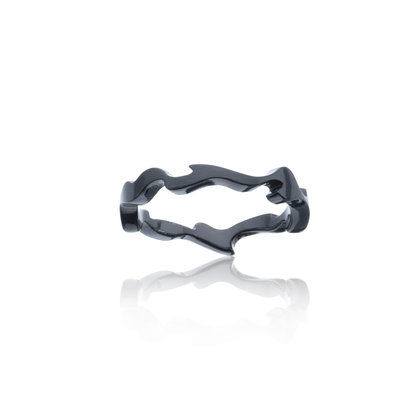 Slender, organically-shaped men's silver ring overlaid with black ceramic for a smooth, tactile feel & a dark, sleek look