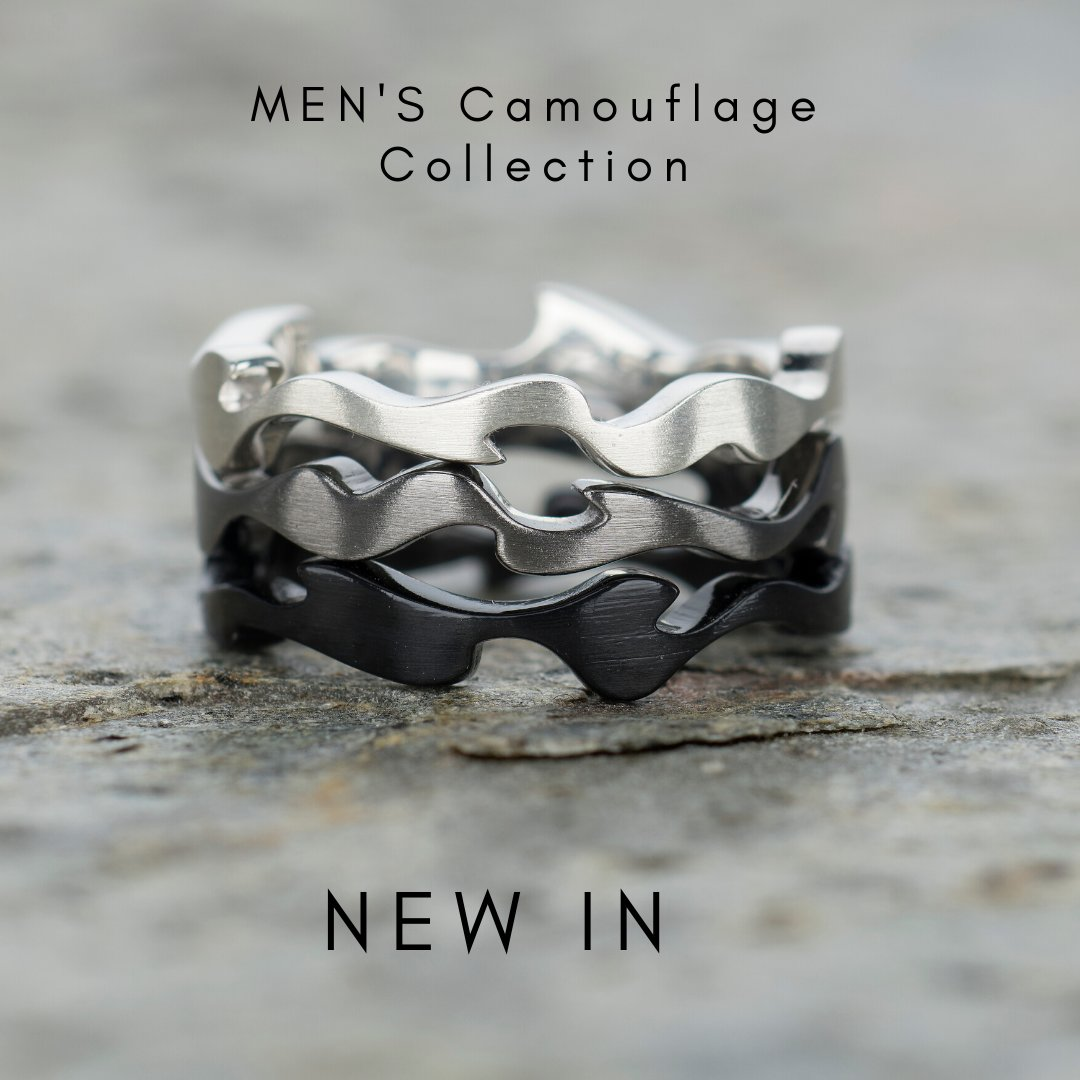 3 organic-shaped, stacked rings in silver, grey & black to mimic the light & shade, illumination & concealment of camouflage
