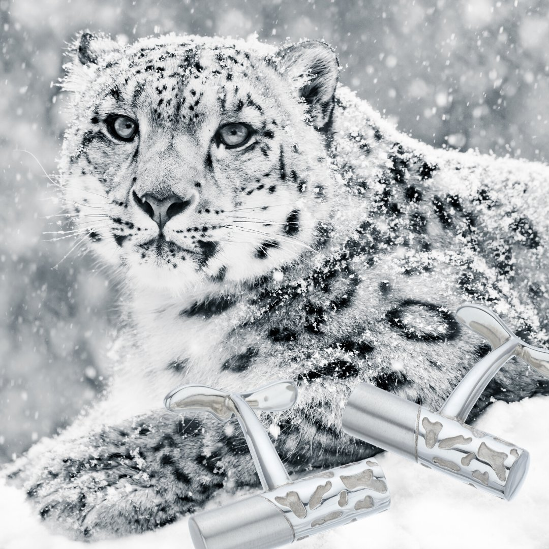 Camouflage-patterned, bespoke sterling silver cufflinks next to their inspiration - a snow leopard lying in the snow
