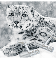 Solid, brushed silver cufflinks with a camouflage pattern shown in the snow with a snow leopard which was their inspiration