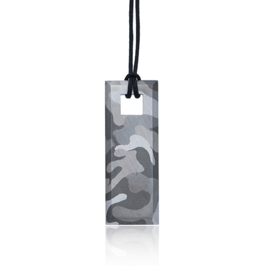 Slender, rectangular, silver tag hand painted in camouflage using silvery shades of rhodium & hung on a black cotton cord