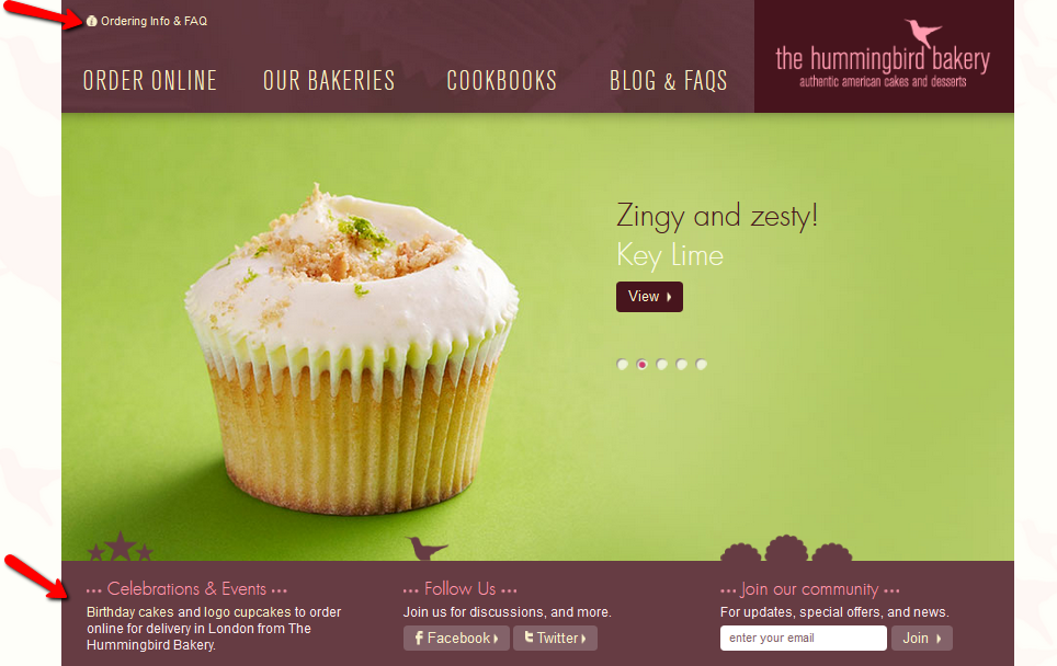 Increase conversions for local businesses - hummingbirdbakery.com example
