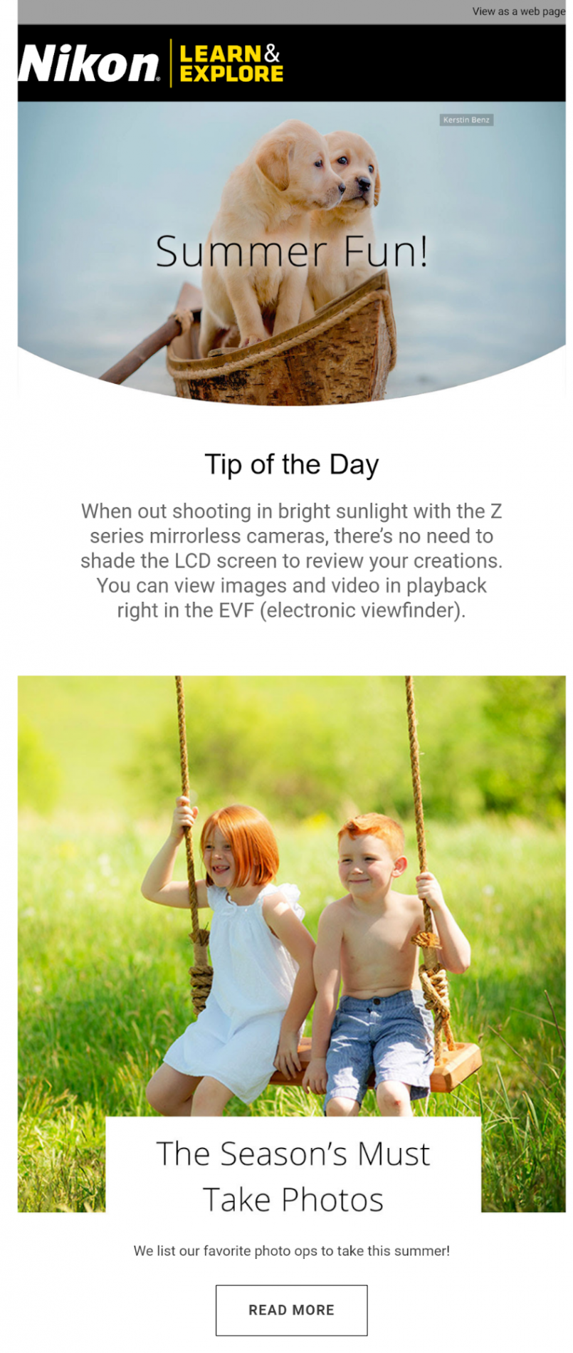 Nikon educational email marketing