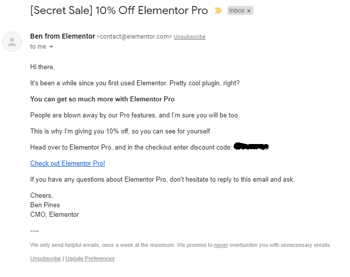 Elementor personalized sales email marketing