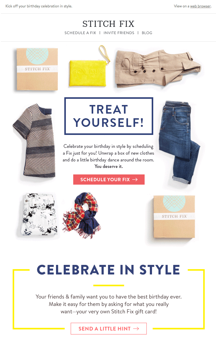 Stitch Fix birthday-offer email marketing