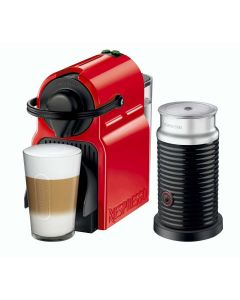Nespresso - Inissia Red Coffee Machine + Aeroccino Milk Frother, C40BU-RE