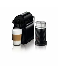 Nespresso - Inissia Black Coffee Machine + Aeroccino Milk Frother, D40BU-BK