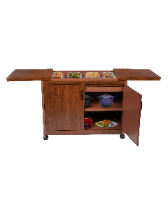 Wolf Power - 4 Dish Food Warmer Trolley with Slide Cover, Mahogany, WPS6242DB