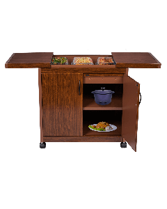 Wolf Power - 3 Dish Food Warmer Trolley with Slide Cover, Mahogany, WPS6232DB