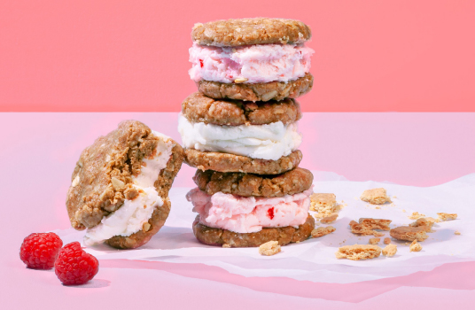 Berry N'ice Cream Sandwiches with No-bake Graham Cracker Cookies