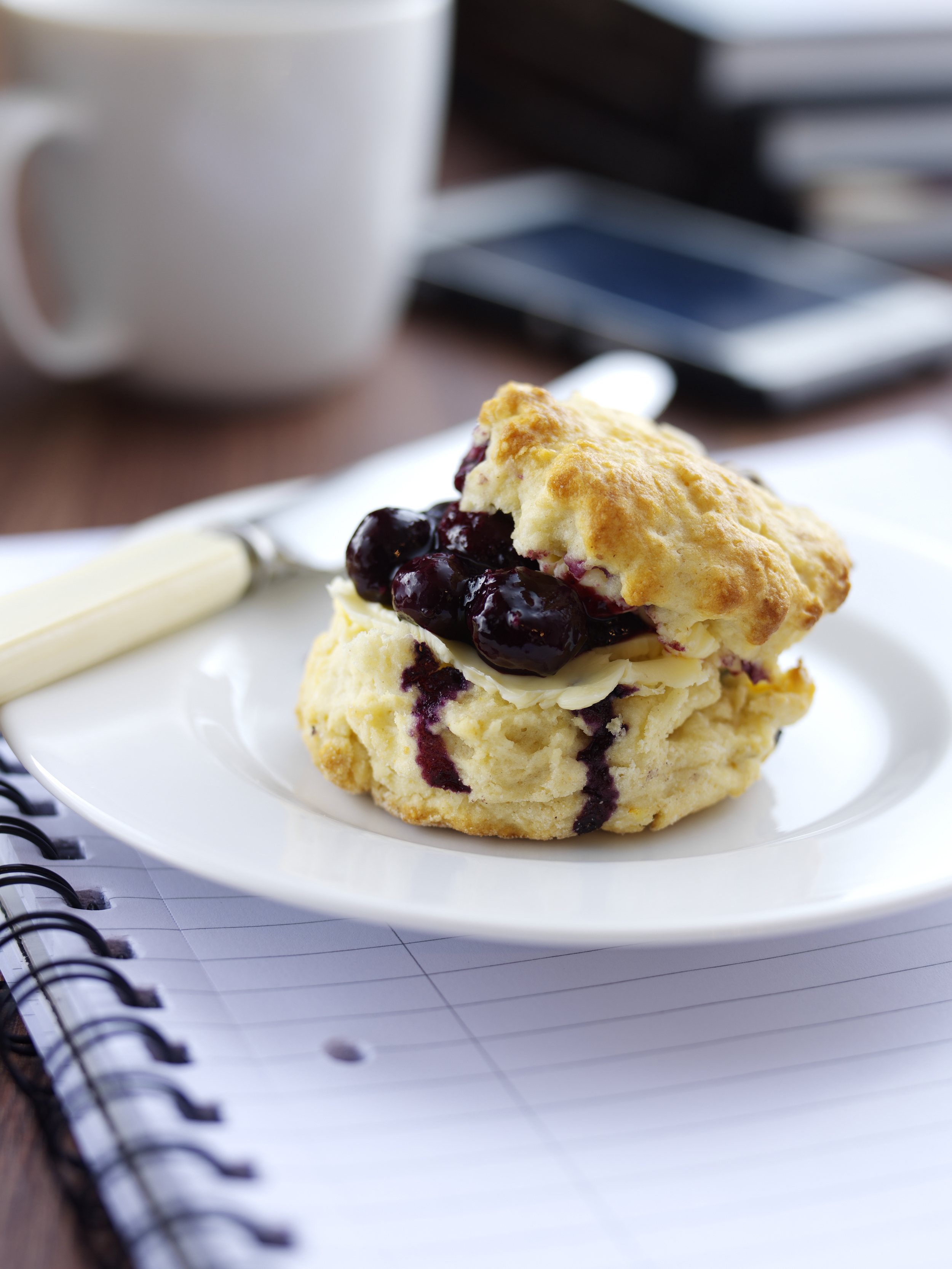 Berry World Blueberry and Buttermilk Scones with Fresh Berry World Blueberry Jam 75j2v1l22