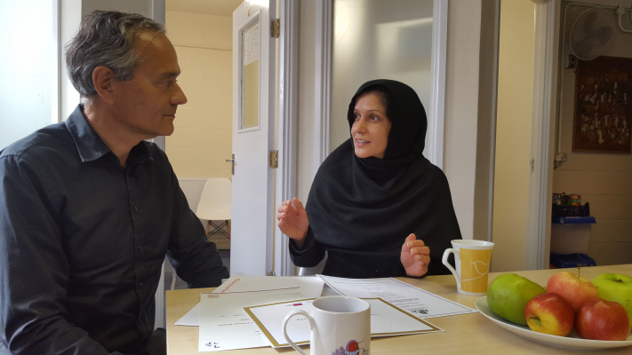 Ghazala and Angus, during an Employment Advice session, September 2019