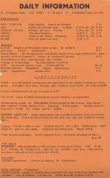 Daily Info printed sheet Thu 15/10 1964