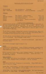 Daily Info printed sheet Sat 3/10 1964