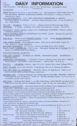 Daily Info printed sheet Fri 19/11 1965