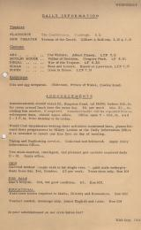 Daily Info printed sheet Wed 30/9 1964