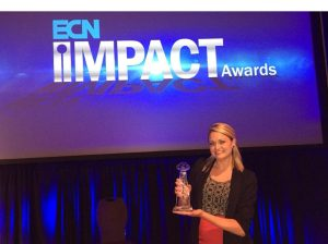Jessica Engel collecting the ECN Impact award 2015