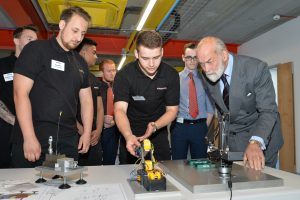 Harwin Apprentices demonstrating equipment to HRH Prince Michael of Kent