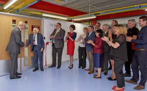 Professor Lord Martin Rees opening the new Apprentice training facility at Harwin