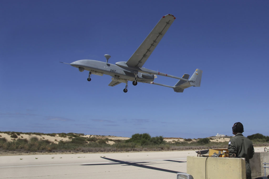 An IAI Heron Unmanned Aerial Vehicle takes off the runway at Palmachim Air Force Base, Israel.