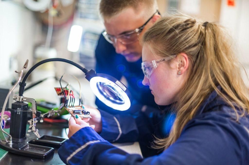 Girl looking at electrics